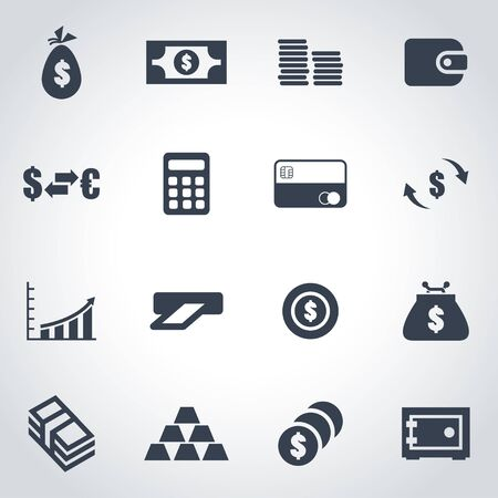 black money:  black money icon set  on grey background