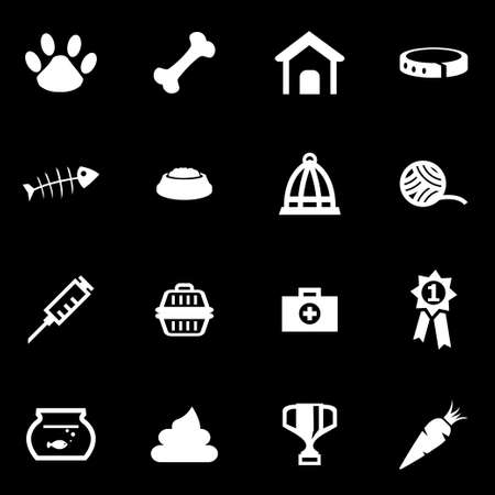 pets: white pet icon set on black background