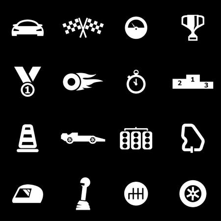 cars racing:  white racing icon set on black background Illustration
