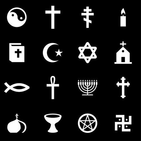 cruz religiosa: Vector blanco religión conjunto de iconos sobre fondo negro