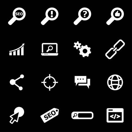 seo:  white seo icon set on black background