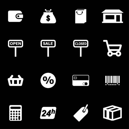 gift basket:  white shop icon set on black background