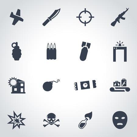 terrorist: Vector black terrorism icon set on grey background