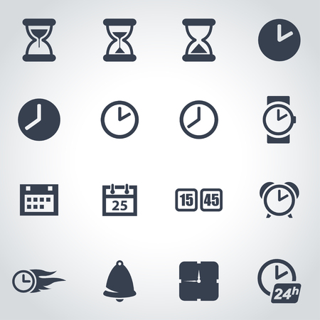 digital clock:  black time icon set on grey background
