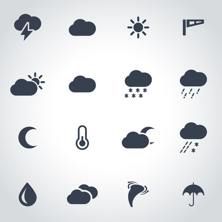 zwart weer icon set op een grijze achtergrond Stock Illustratie