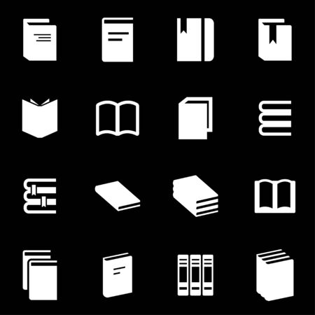 media icon: white book icon set on black background Illustration