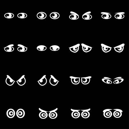 ojos negros: blanco el dibujo animado conjunto de iconos sobre fondo negro