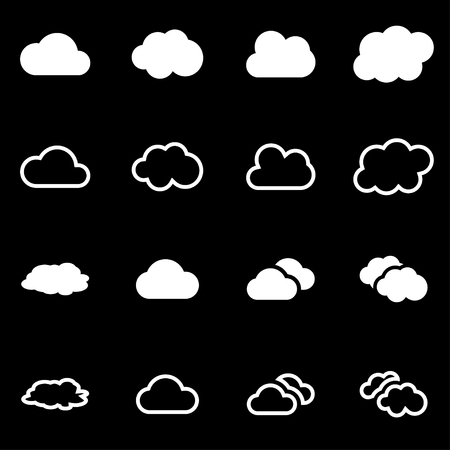 cloud icon: white cloud icon set on black background