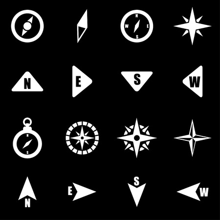 brujula: blanco icono de brújula situado en el fondo negro