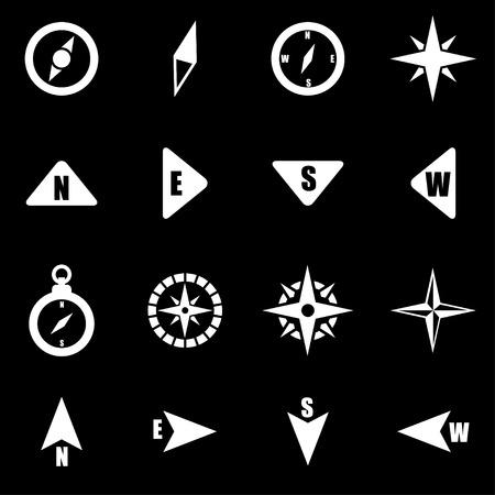 compass:  white compass icon set on black background Illustration