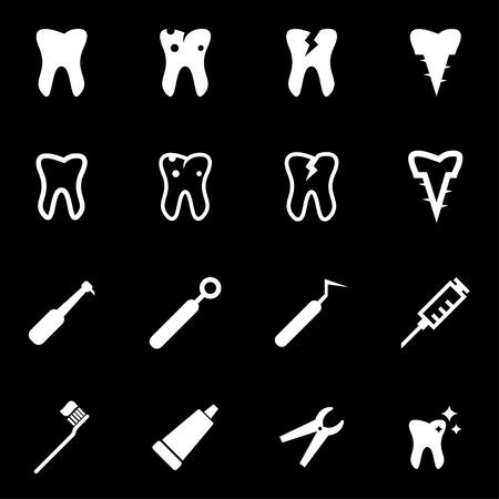 premolar: white dental icon set on black background