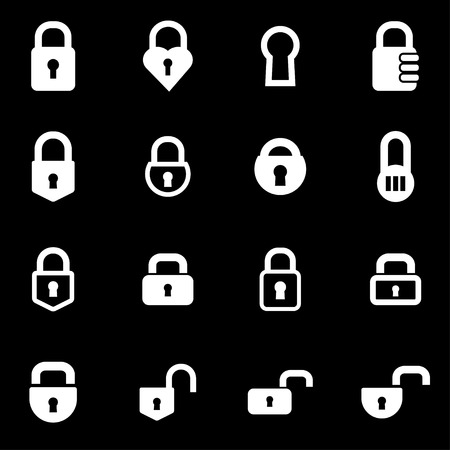 closed lock:  white locks icon set on black background Illustration