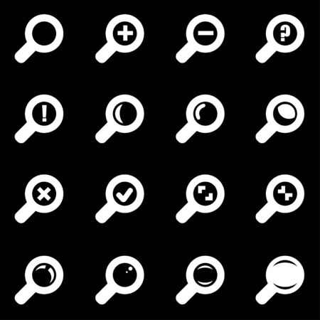 magnifying glass icon:  white magnifying glass icon set  on black background