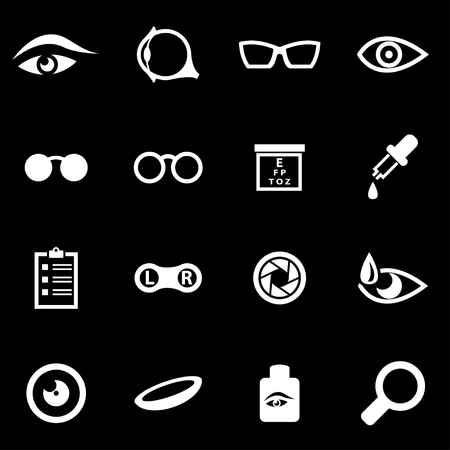 eye exams:  white optometry icon set on black background