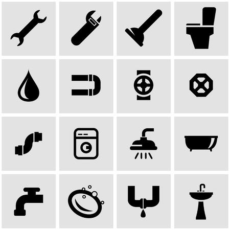tube wrench:  black plumbing icon set on grey background