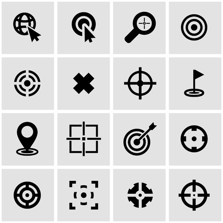 target icon:  black target icon set on grey background