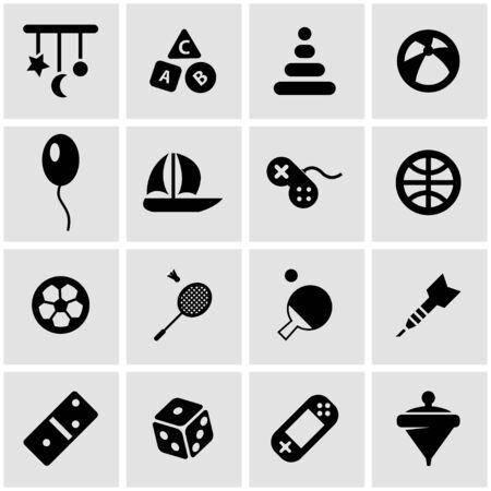 toys:  black toys icon set on grey background Illustration