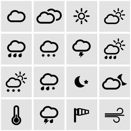 clima: iconos del tiempo negro conjunto sobre fondo gris Vectores