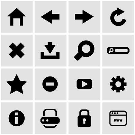 icons site search: black browser icon set on grey background