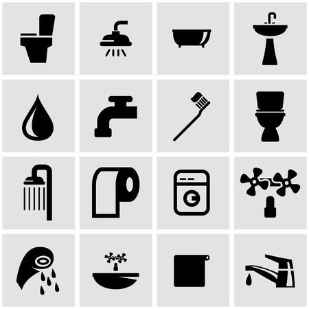 clean bathroom: black bathroom icon set on grey background