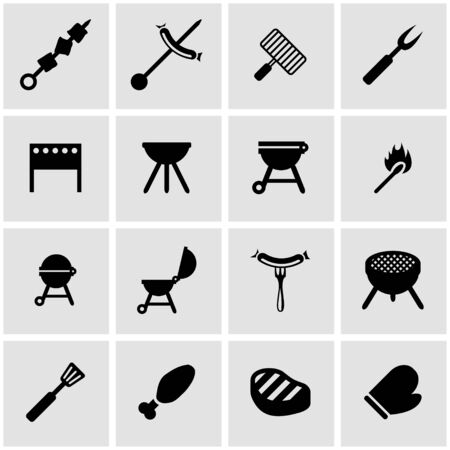 barbecue grill: black barbecue icon set on grey background