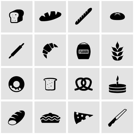 bakery oven: black bakery icon set on grey background
