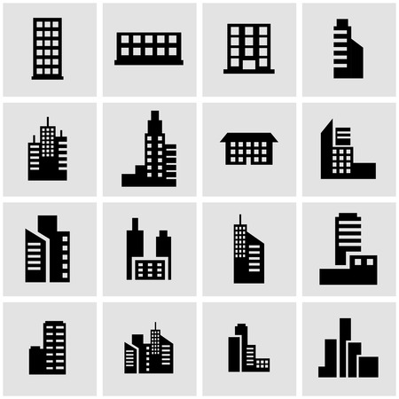 black building icon set on grey background Çizim