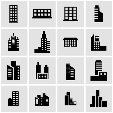 edificios: icono negro edificio situado en el fondo gris Vectores