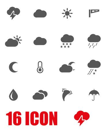 meteo: Vector grigio icona indicativa impostato su sfondo bianco Vettoriali