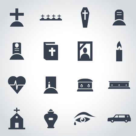 memorial cross: Vector icono funeral negro establece sobre fondo gris Vectores
