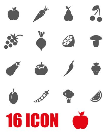 fresh vegetable: Vector grey fruit and vegetables icon set on white background