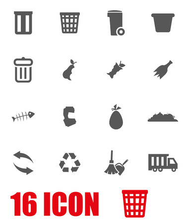garbage: Vector grey garbage icon set on white background