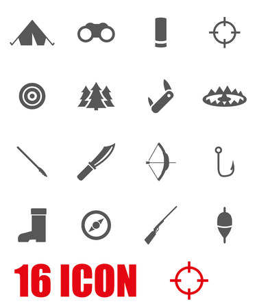 hunting: Vector grey hunting icon set on white background