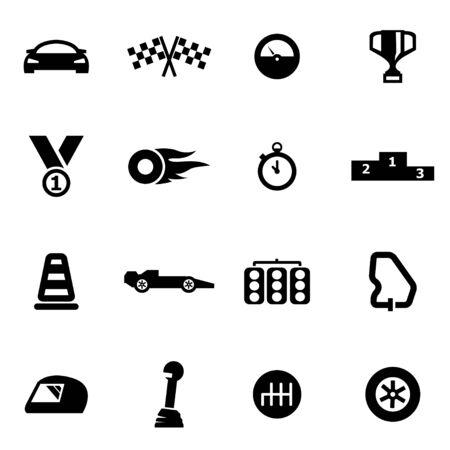 bandera carreras: Vector icono de las carreras de negro ajustado en el fondo blanco