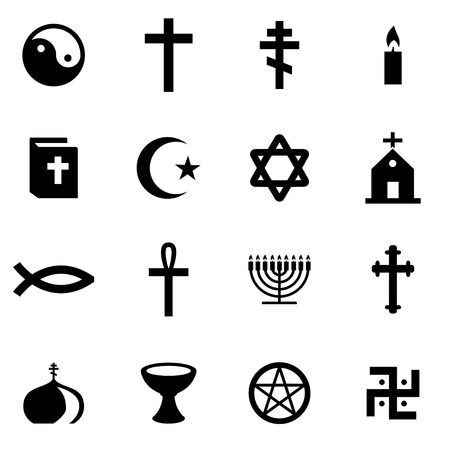 religion: Vector black religion icon set on white background Illustration