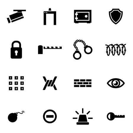 Vector black security icon set on white background Illustration