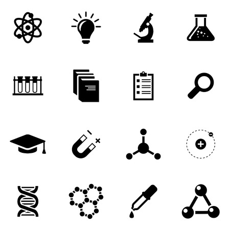 science icons: Vector black science icon set on white background
