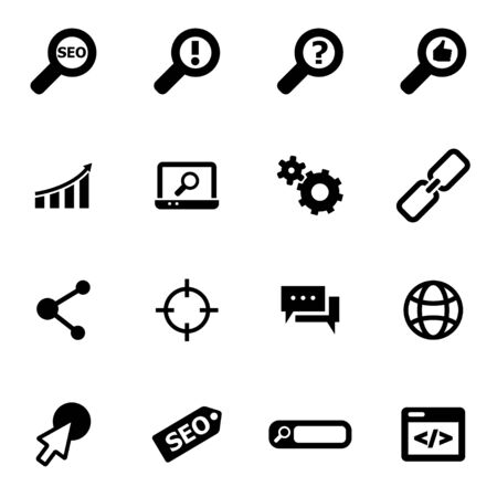 tech support: Vector black seo icon set on white background