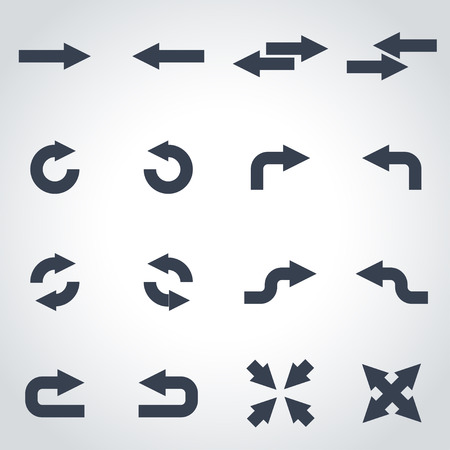 left arrow: Vector black arrows icon set on grey background Illustration