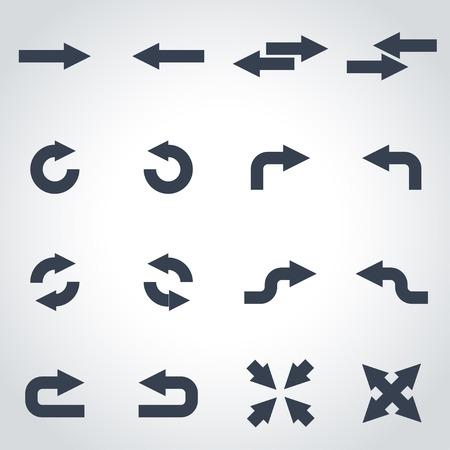 flecha direccion: Vector flechas negras conjunto de iconos sobre fondo gris