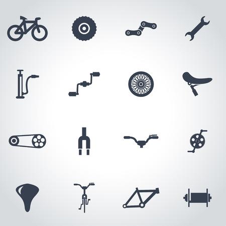 bicyclette: Vecteur bicyclette noire icon set sur fond gris