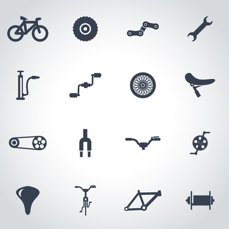 bicycle gear: Vector black bicycle icon set on grey background