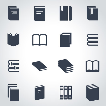 Vector black book icon set on grey background Ilustração
