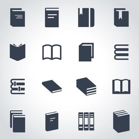 libros: Vector libro negro conjunto de iconos sobre fondo gris