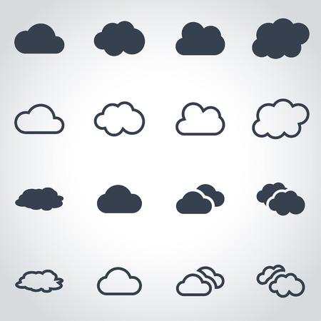 cloud vector: Vector black cloud icon set on grey background Illustration