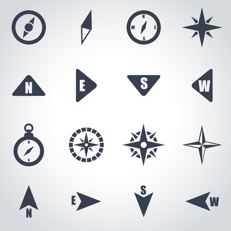 compass icon: Vector black compass icon set on grey background