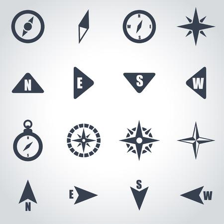 arrow icon: Vector black compass icon set on grey background