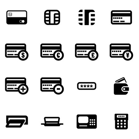economy: Vector black credit card icon set on white background Illustration