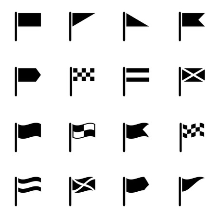 flags: Vector black flag icon set on white background