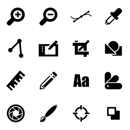 graphic icon: Vector black graphic design icon set on white background Illustration